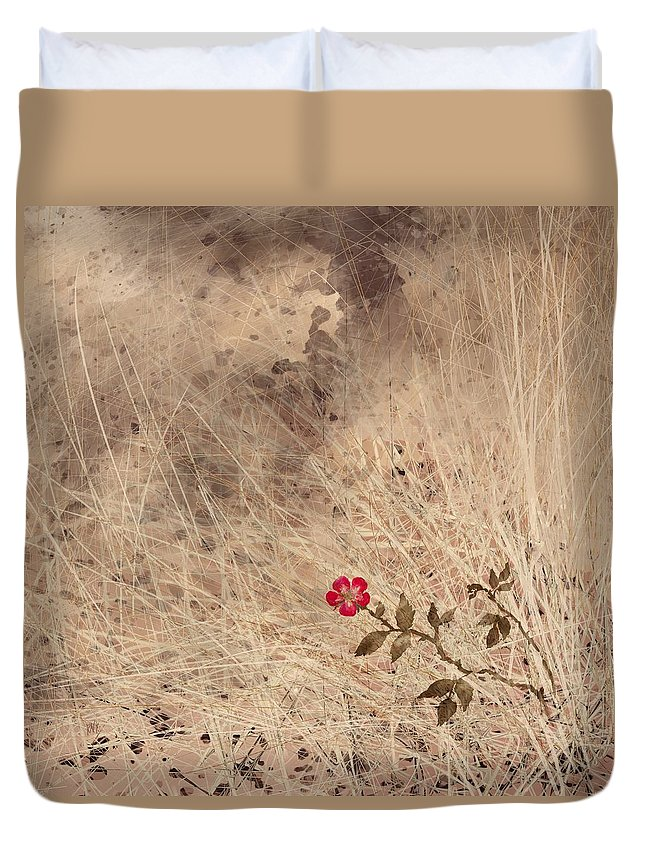 Abstract Duvet Cover featuring the digital art The Last Blossom by William Russell Nowicki
