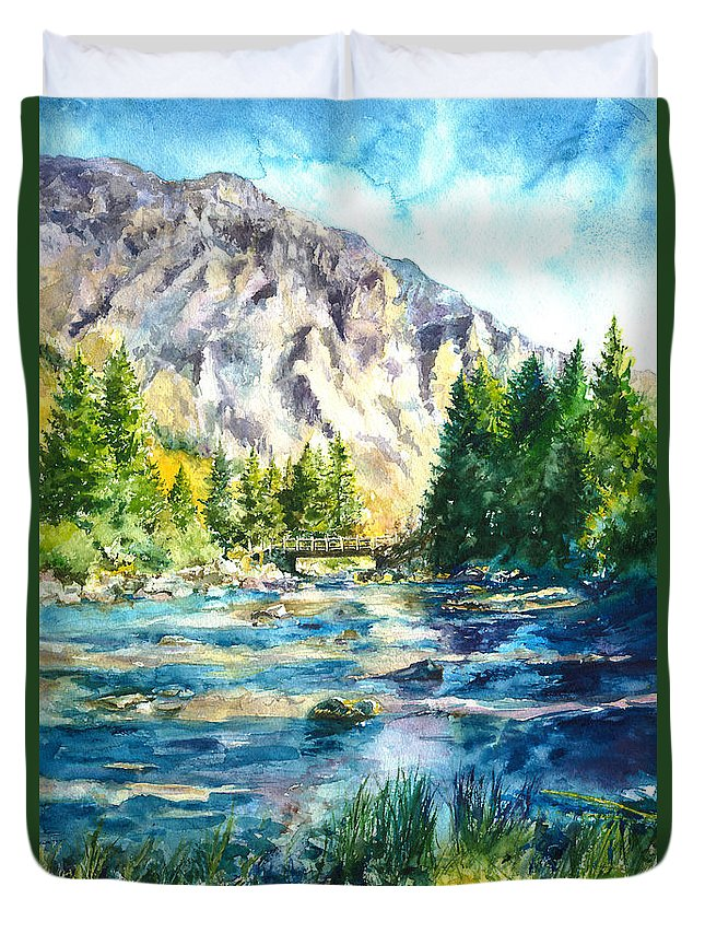 Landscape Duvet Cover featuring the painting The Last Bridge To Alpine by Paul Workman