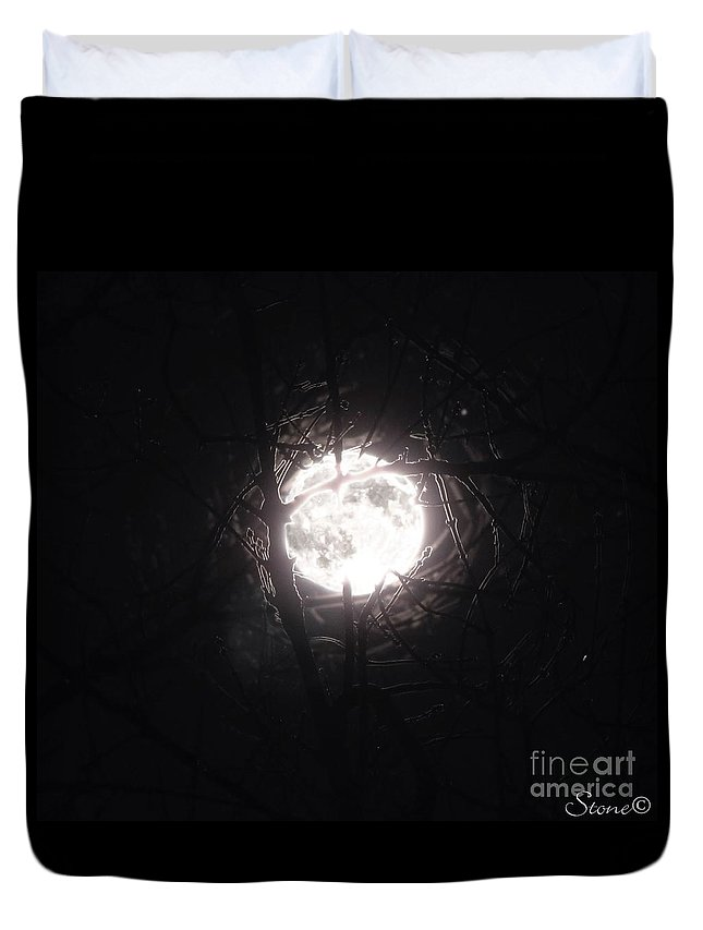 Night Duvet Cover featuring the photograph The Last Nights Moon by September Stone