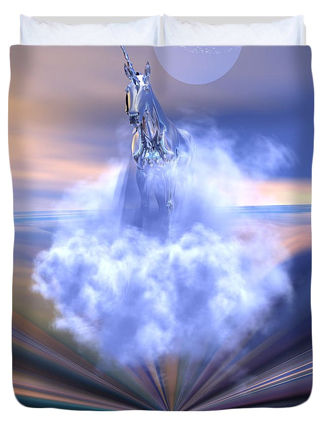 Bryce Duvet Cover featuring the digital art The Last Of The Unicorns by Claude McCoy