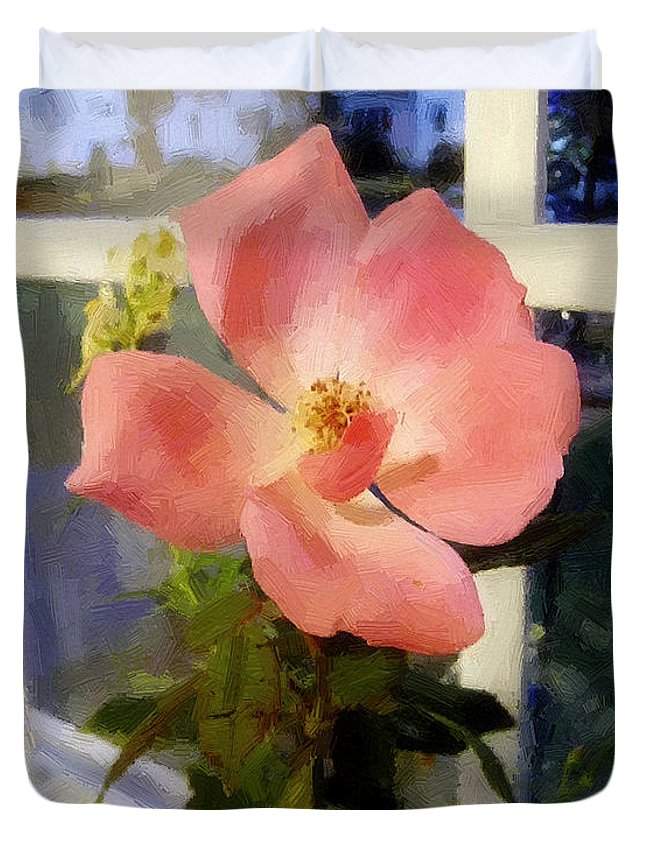 Rose Duvet Cover featuring the painting The Last Rose Of Summer by RC DeWinter