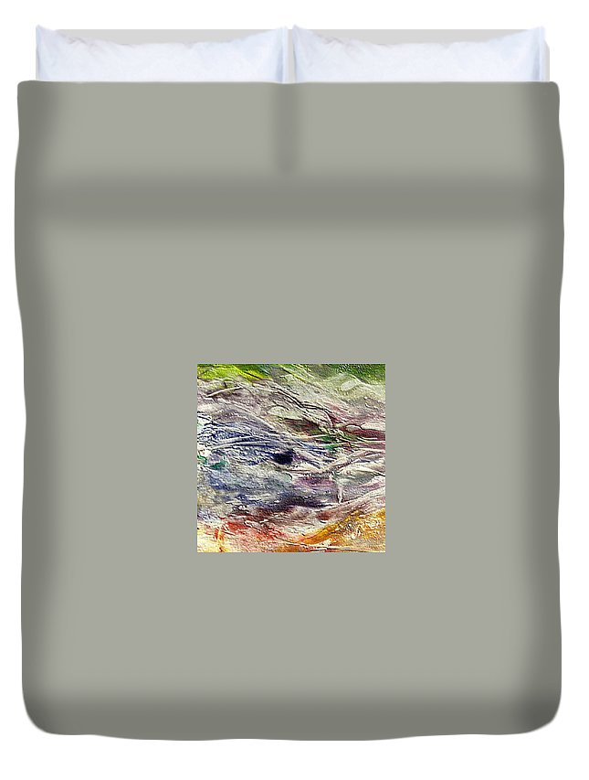 Last Snow Duvet Cover featuring the painting The Last Snow by Dragica Micki Fortuna