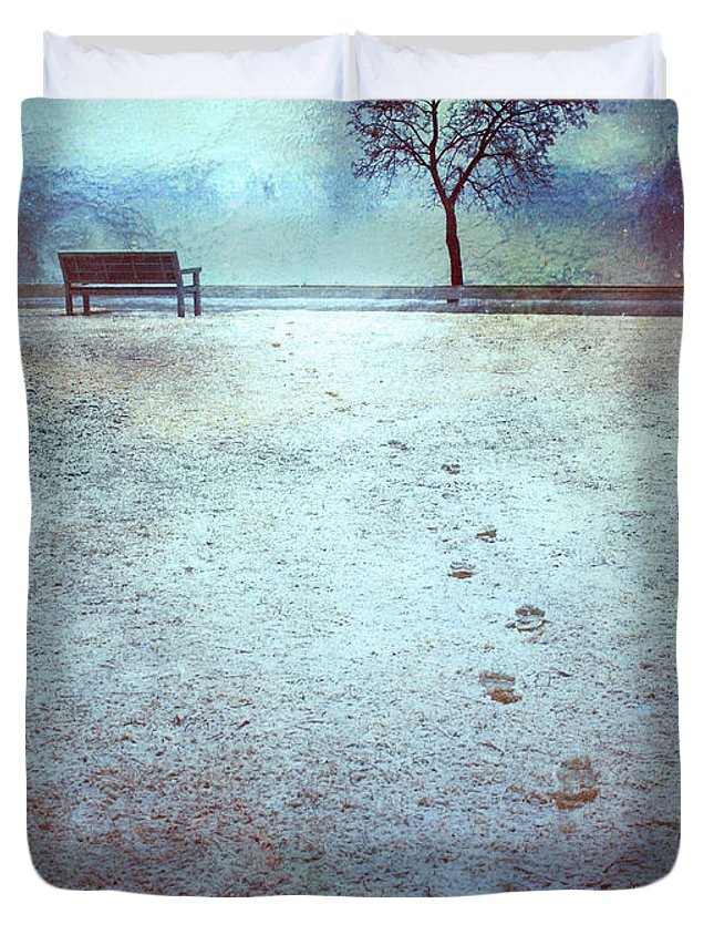 Bench Duvet Cover featuring the photograph The Last Snowfall by Tara Turner