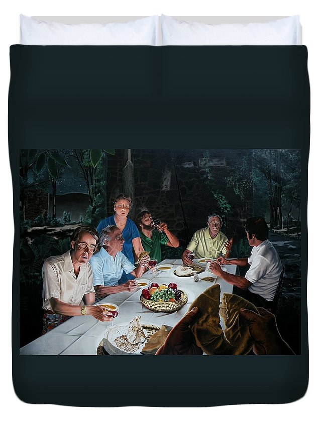 Last Supper Duvet Cover featuring the painting The Last Supper by Dave Martsolf