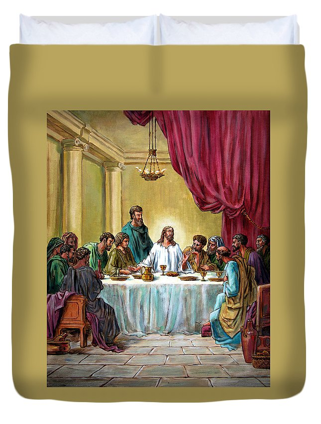 Jesus Duvet Cover featuring the painting The Last Supper by John Lautermilch