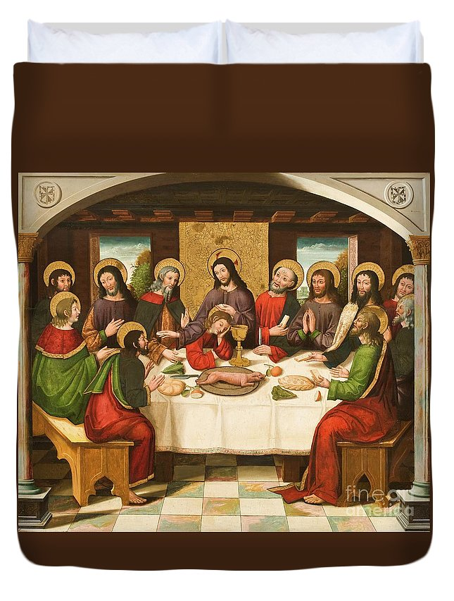 The Last Supper Duvet Cover featuring the painting The Last Supper by Master of Portillo