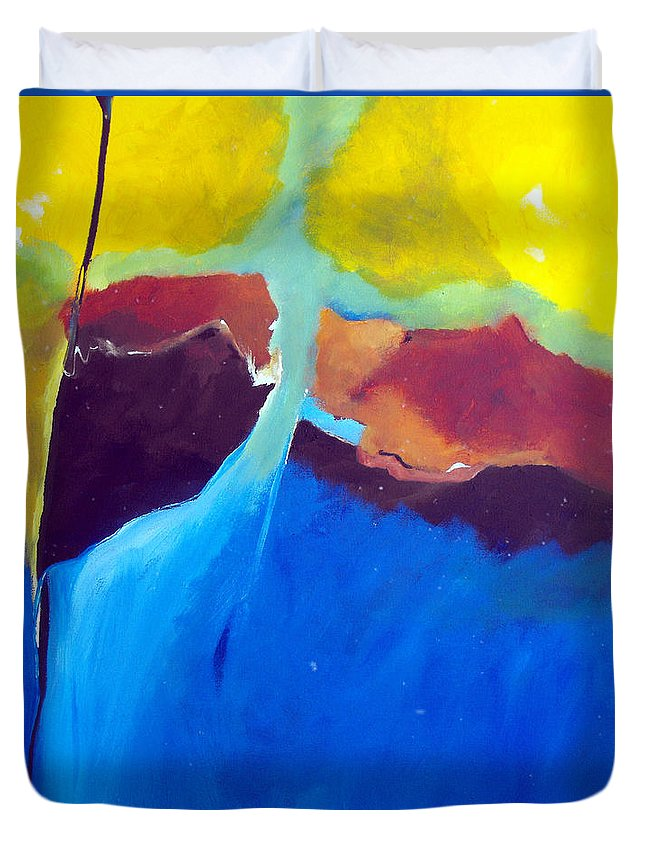 Abstract Duvet Cover featuring the painting The Lay Of The Land by Ruth Palmer