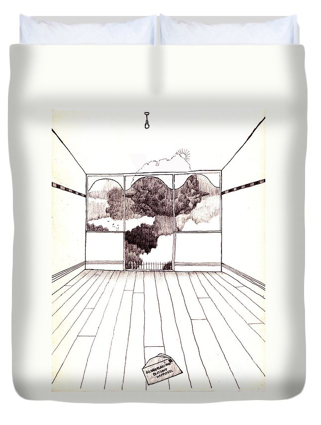 Nuclear Duvet Cover featuring the drawing The Letter by Andy Mercer