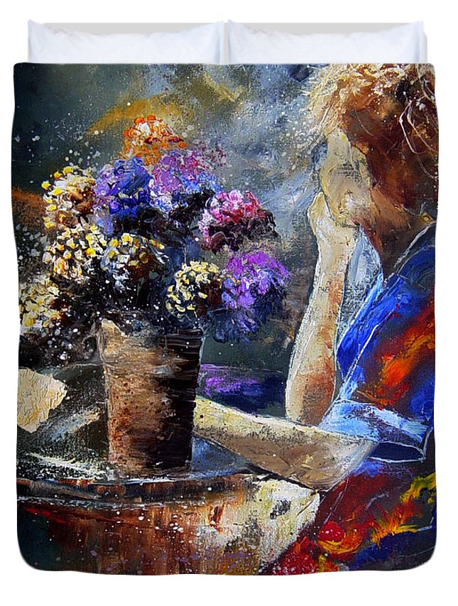 Girl Nude Duvet Cover featuring the painting The Letter by Pol Ledent