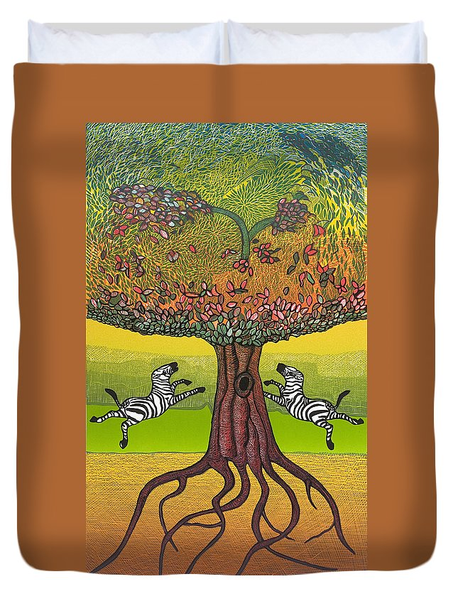 Landscape Duvet Cover featuring the mixed media The Life-giving Tree. by Jarle Rosseland