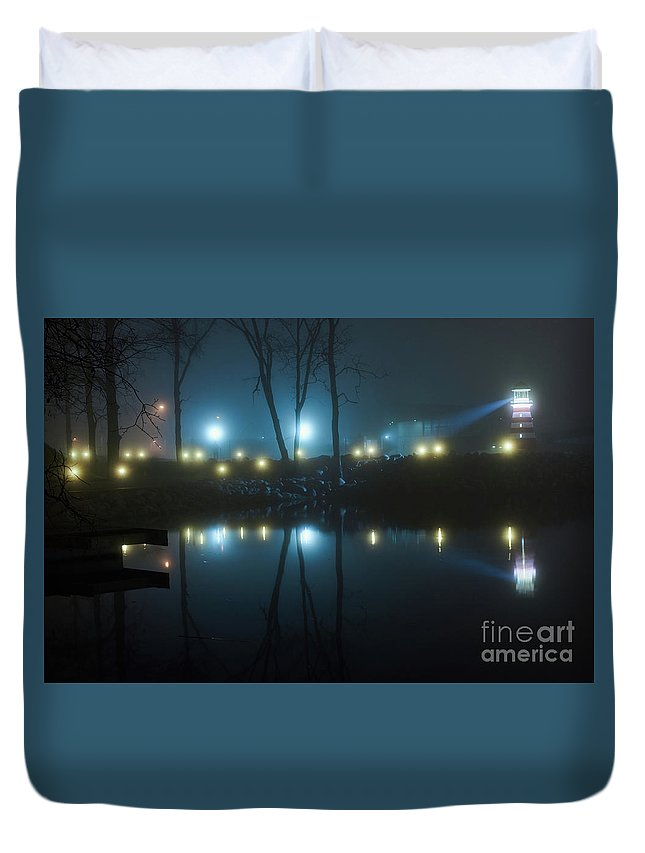 Beach Duvet Cover featuring the photograph The Light From The Shore Lights Reflected In The Water 3 by Valdis Veinbergs