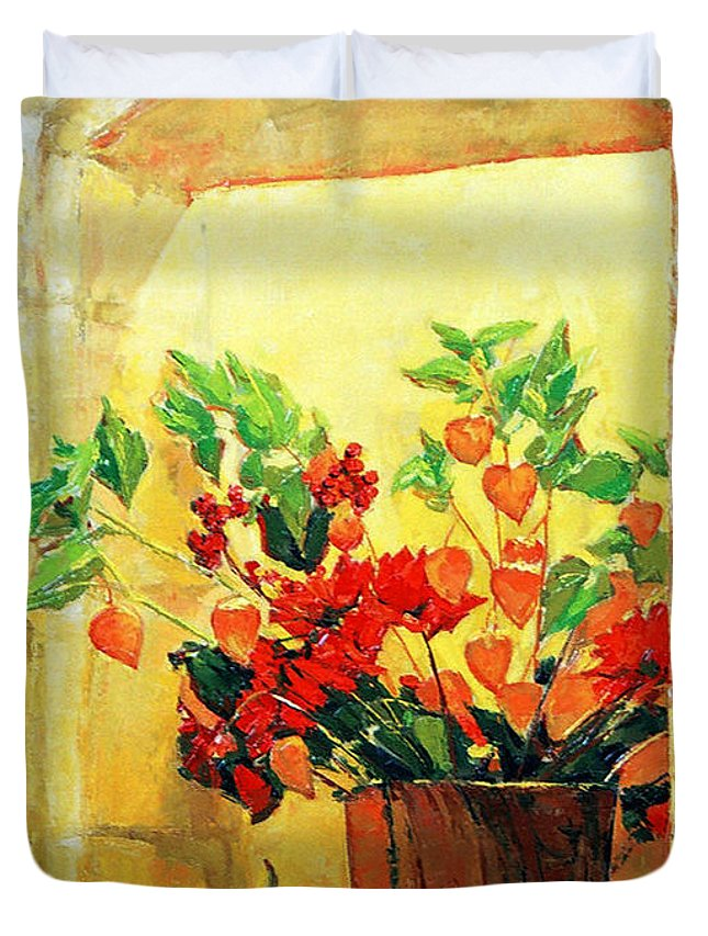 Still Life Duvet Cover featuring the painting The Light by Iliyan Bozhanov