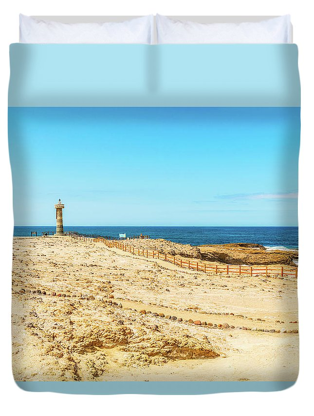 Local Landmark Duvet Cover featuring the photograph The Lighthouse In Salinas, Ecuador by Marek Poplawski