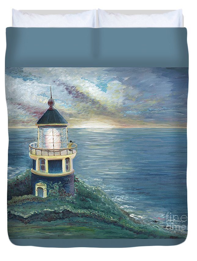 Lighthouse Duvet Cover featuring the painting The Lighthouse by Nadine Rippelmeyer