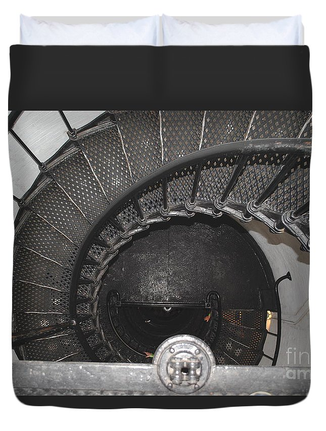 Lighthouse Duvet Cover featuring the photograph The Lighthouse Stairs by Jost Houk
