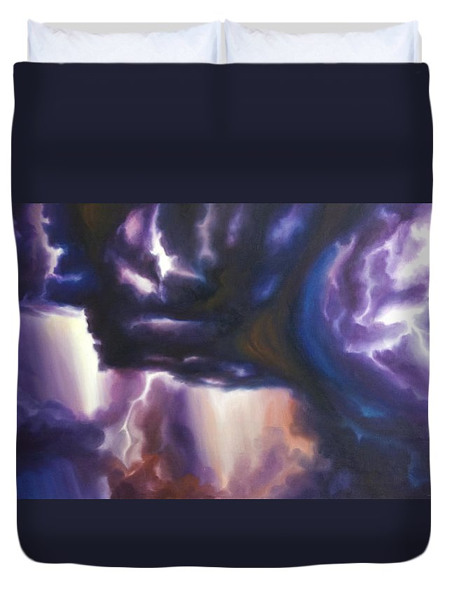 Tempest Duvet Cover featuring the painting The Lightning by James Christopher Hill
