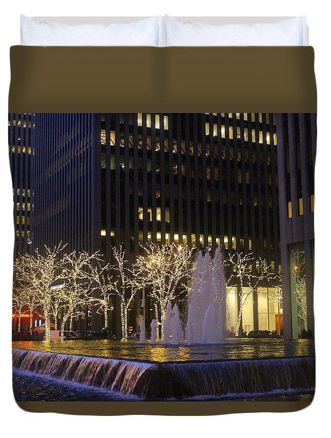 New York Duvet Cover featuring the photograph New York City Lights by Dora Sofia Caputo Photographic Design and Fine Art