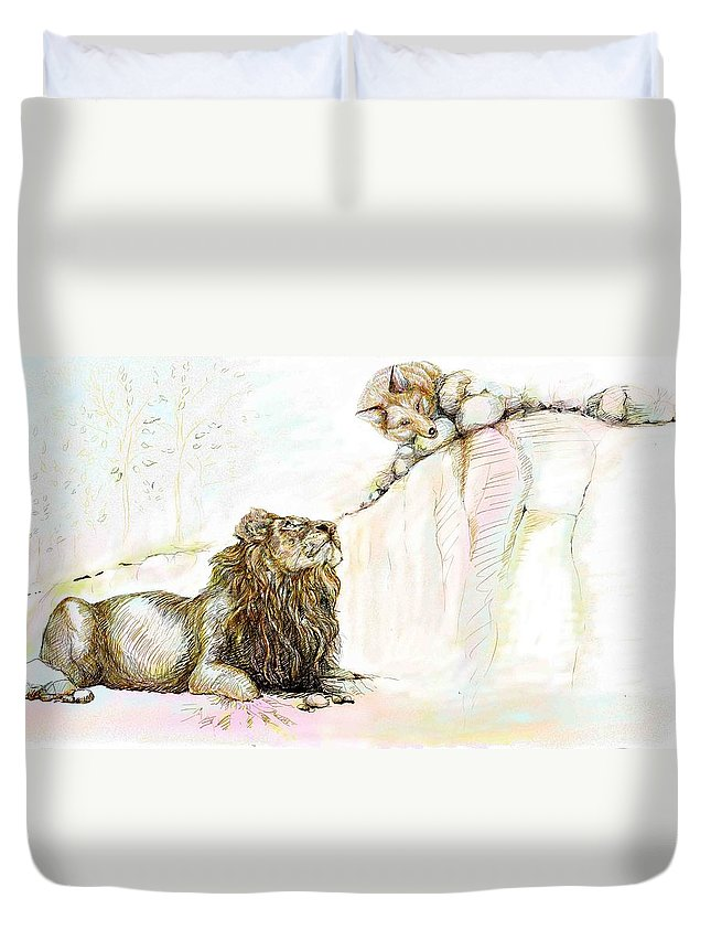 Lion Duvet Cover featuring the painting The Lion And The Fox 1 - The First Meeting by Sukalya Chearanantana