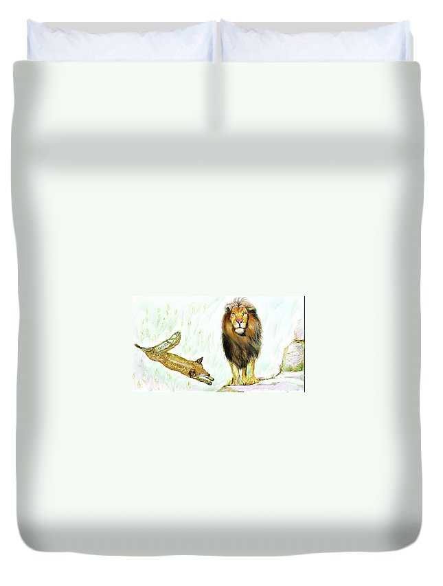 Lion Duvet Cover featuring the painting The Lion And The Fox 2 - The True Friendship by Sukalya Chearanantana