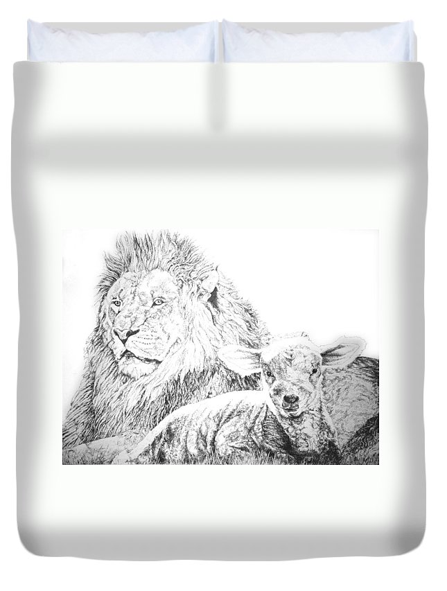Lion Duvet Cover featuring the drawing The Lion And The Lamb by Bryan Bustard