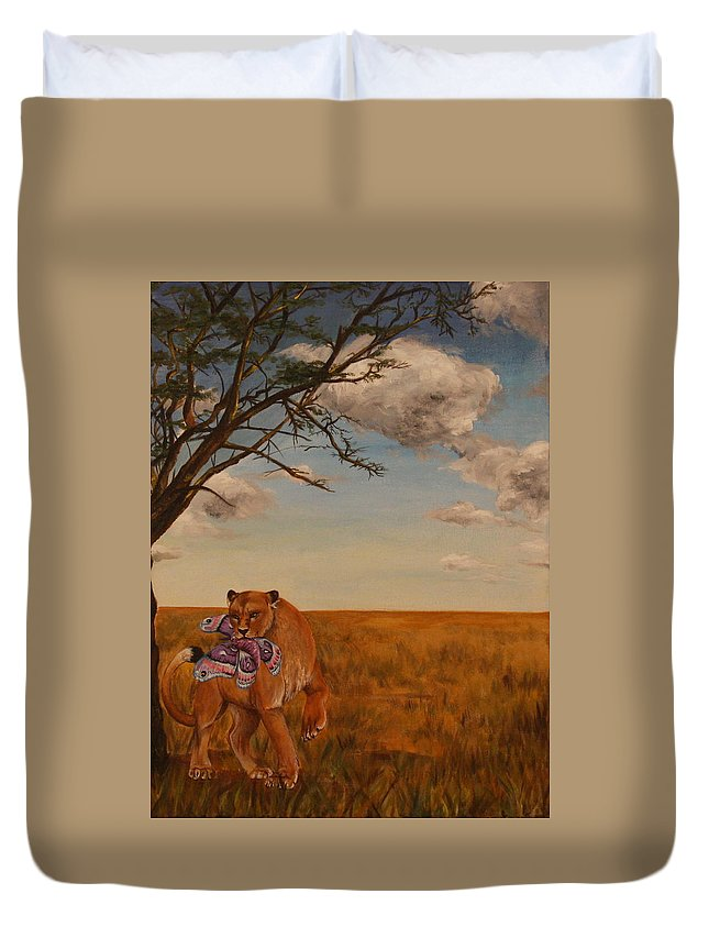 Lion Duvet Cover featuring the painting The Lion And The Moth by Michelle Miron-Rebbe