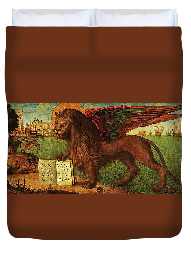 Lion Duvet Cover featuring the painting The Lion Of Saint Mark by Vittore Carpaccio