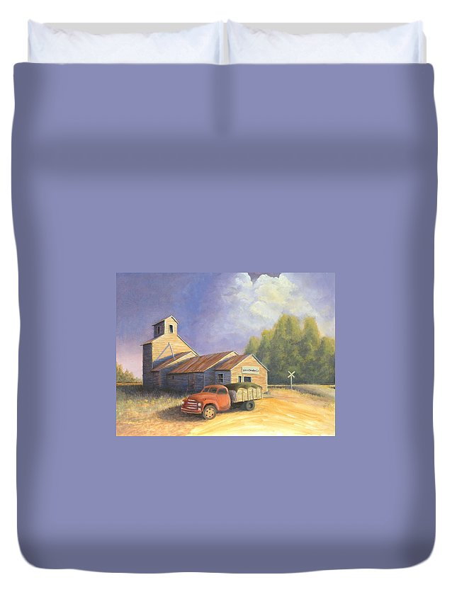 Nebraska Duvet Cover featuring the painting The Lisco Elevator by Jerry McElroy