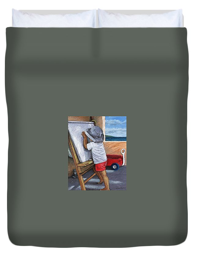 Young Artist Duvet Cover featuring the painting The Little Artist by Snake Jagger