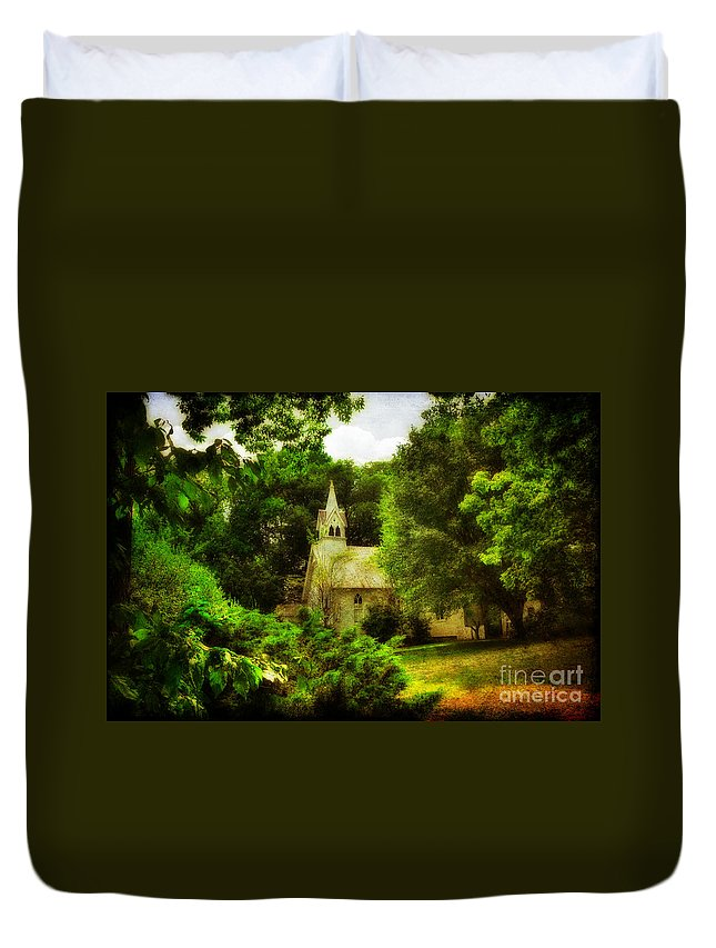 Church Duvet Cover featuring the photograph The Little Church On The Corner by Lois Bryan