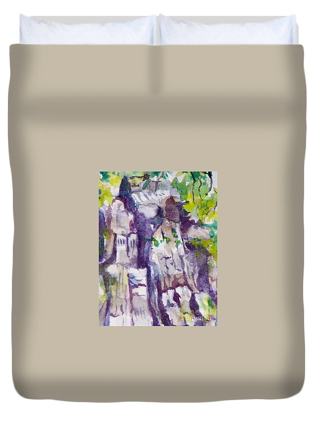 Purple Duvet Cover featuring the painting The Little Climbing Wall by Jan Bennicoff