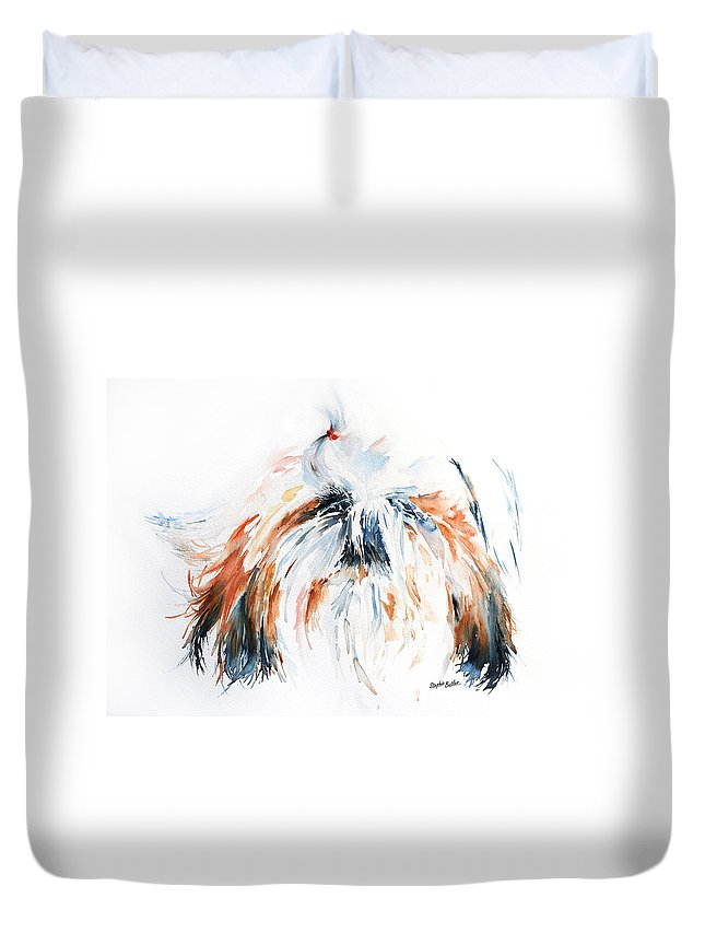 Stephie Butler Duvet Cover featuring the painting The Little Horror by Stephie Butler