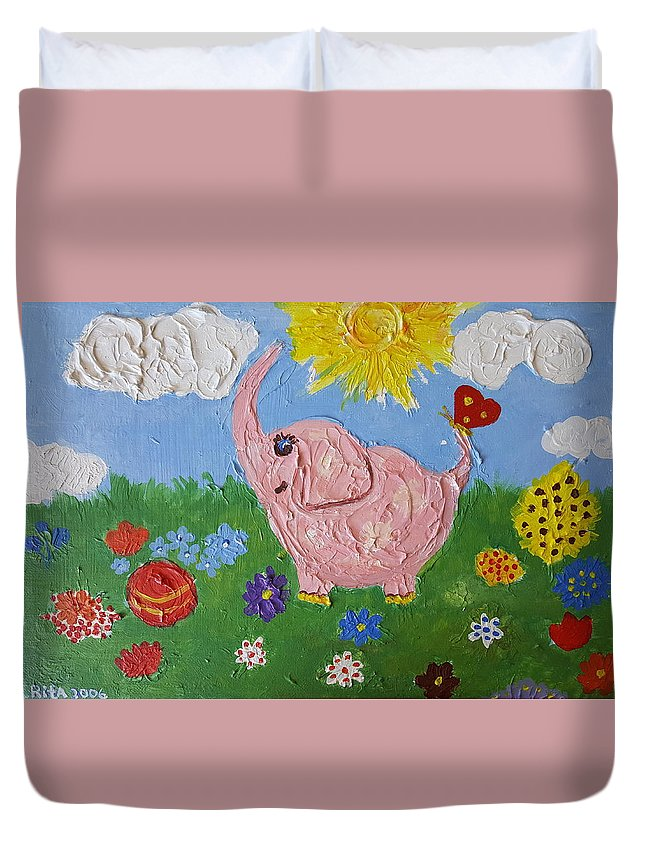 Elephant Duvet Cover featuring the painting Little Pink Elephant by Rita Fetisov