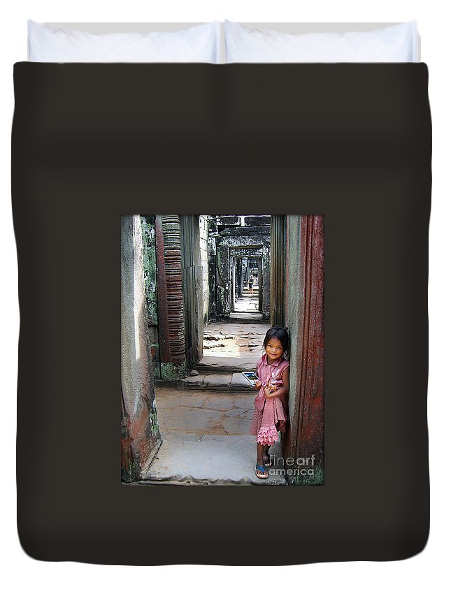 Children Duvet Cover featuring the photograph The Little Postcard Seller by Eena Bo