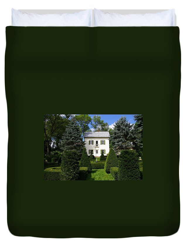 House Duvet Cover featuring the photograph The Little White House by Tom Reynen