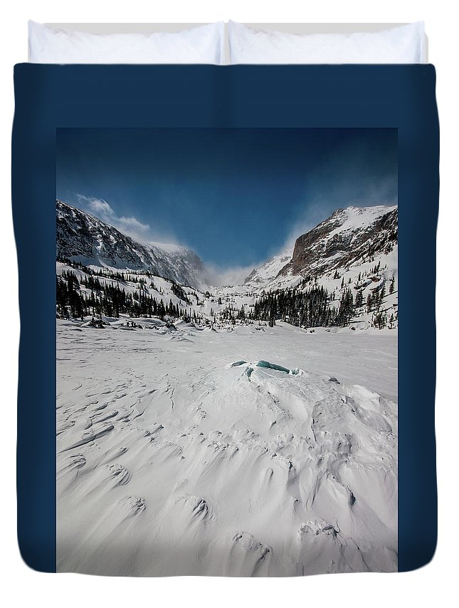 Landscape Duvet Cover featuring the photograph The Loch Under Snow by Rob Lantz