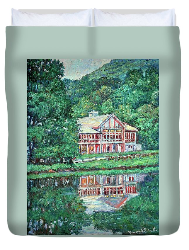 Lodge Paintings Duvet Cover featuring the painting The Lodge At Peaks Of Otter by Kendall Kessler