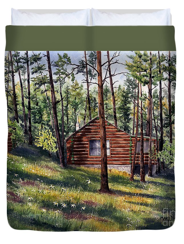 Nature Duvet Cover featuring the painting The Log Cabin by Mary Tuomi
