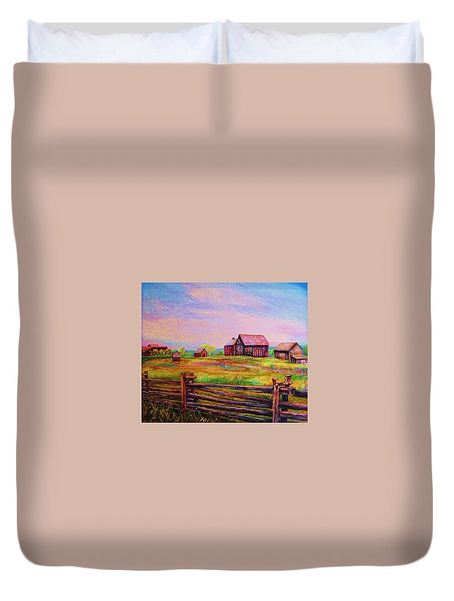 Ranches Duvet Cover featuring the painting The Log Fence by Carole Spandau