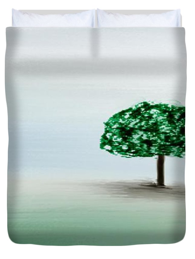 Custom Duvet Cover featuring the painting The Lone Tree by Gina Lee Manley