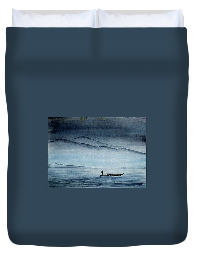Boat Duvet Cover featuring the painting The Lonely Boat Man by Asha Sudhaker Shenoy