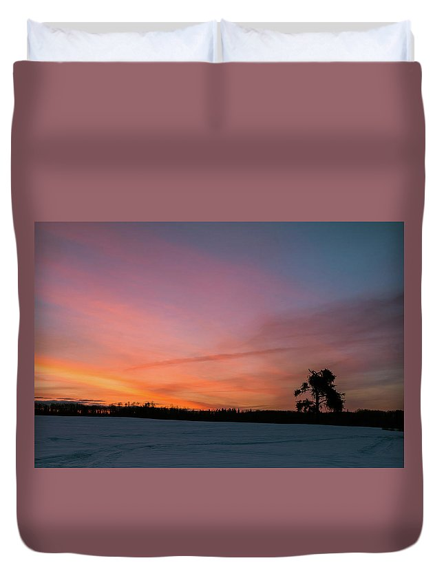 Mud Lake Road Duvet Cover featuring the photograph The Lonely Tree by Linda Ryma