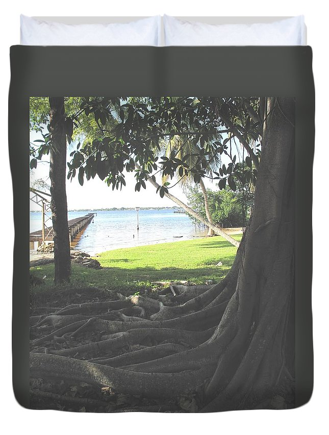 Florida Duvet Cover featuring the photograph The Long Dock by Ian MacDonald