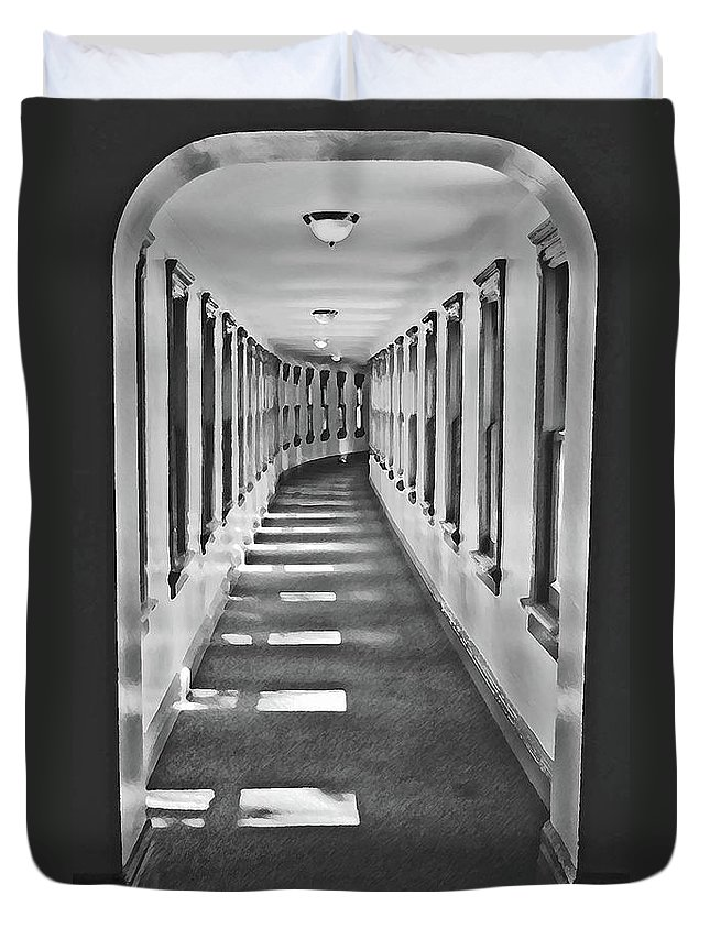 Hallway Duvet Cover featuring the photograph The Long Hall by Jost Houk