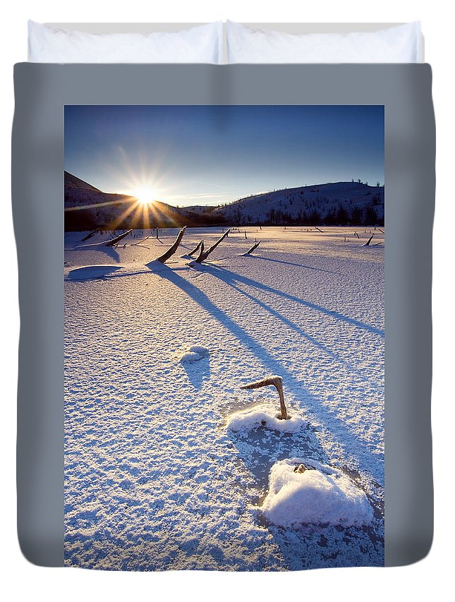 Sunrise Duvet Cover featuring the photograph The Long Shadows Of Winter by Mike Dawson