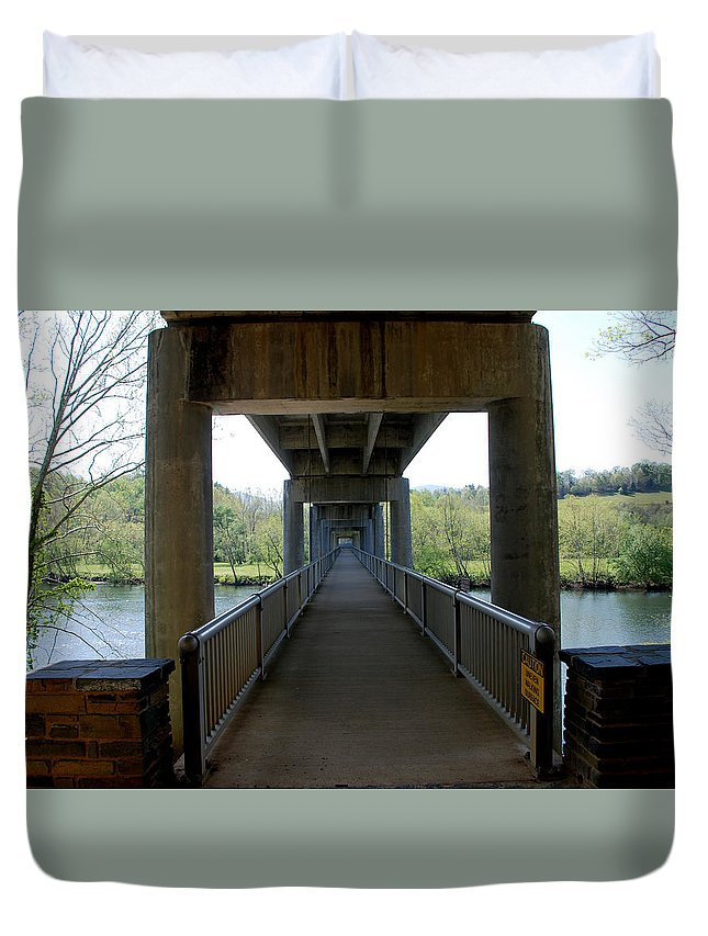 Bridge Duvet Cover featuring the photograph The Long Walk by Angie Anos