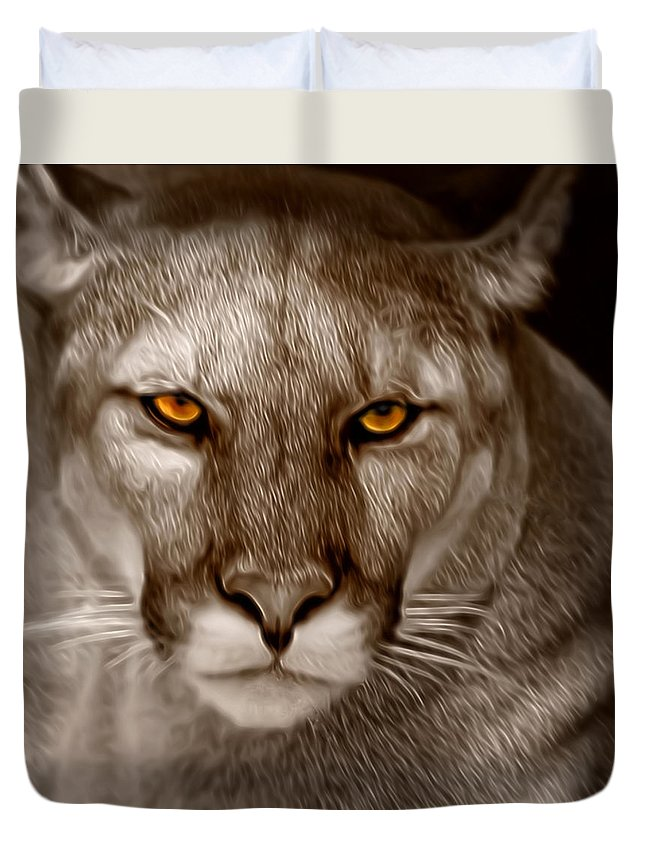 Florida Duvet Cover featuring the photograph The Look - Florida Panther by Mitch Spence