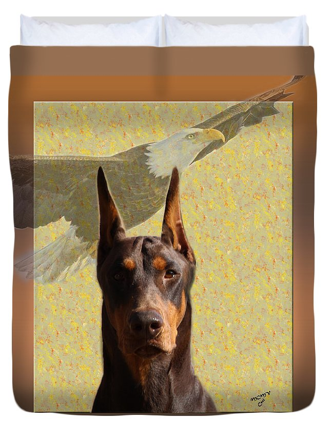 Doberman Duvet Cover featuring the photograph Dobermans..the Look Of The Eagle by Maria C Martinez