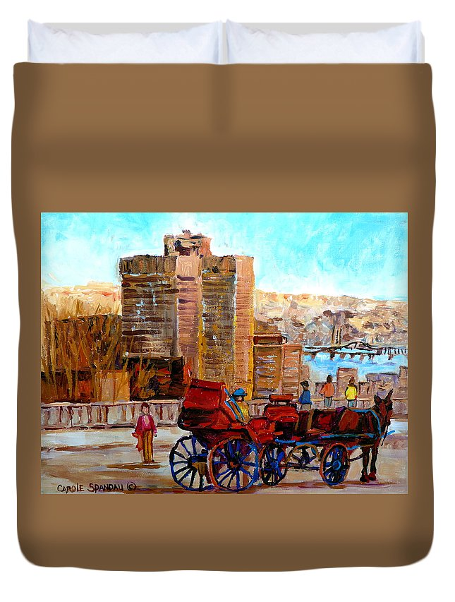 Montreal Street Scene Duvet Cover featuring the painting The Lookout On Mount Royal Montreal by Carole Spandau