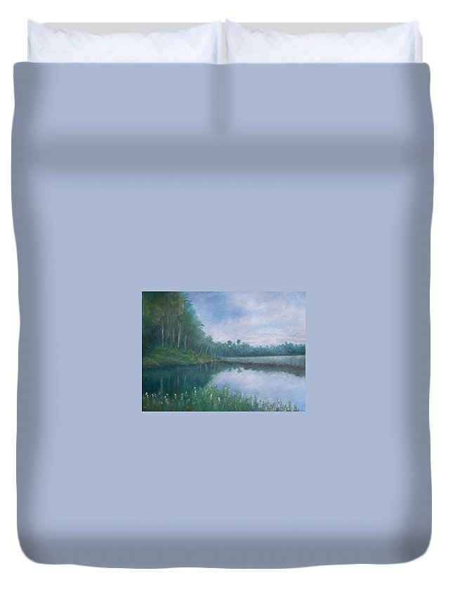 Landscape Duvet Cover featuring the painting The Loop by Joseph Bucemi