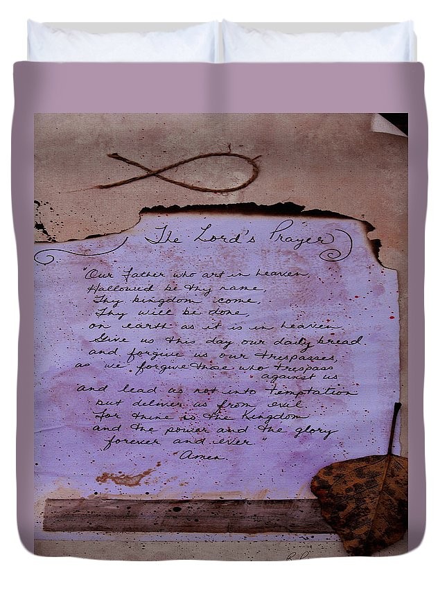 ruth Palmer Duvet Cover featuring the mixed media The Lord's Prayer Collage by Ruth Palmer